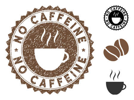 No Caffeine rubber round stamp. Vector stamp in chocolate color with coffee cup elements. Flat icons and scratched texture are used for No Caffeine rubber imprints.