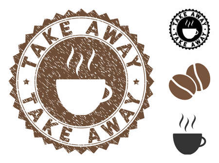 Take Away rubber round stamp. Vector stamp in chocolate color with coffee cup elements. Flat icons and unclean texture are used for Take Away rubber imprints. Ilustração