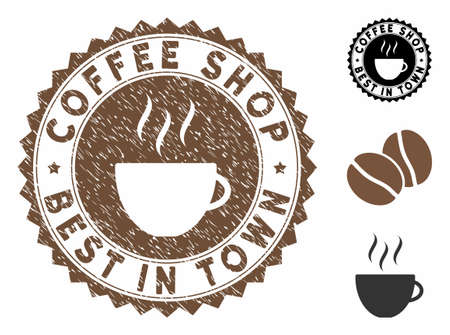 Coffee Shop Best in Town rubber round stamp. Vector stamp in chocolate color with coffee cup elements. Flat icons and scratched texture are used for Coffee Shop Best in Town rubber imprints.