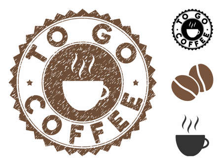 To Go Coffee rubber round seal. Vector seal in chocolate color with coffee cup elements. Flat icons and scratched texture are used for To Go Coffee rubber imprints. Ilustração