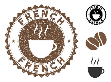 French rubber round stamp. Vector stamp in chocolate color with coffee cup elements. Flat icons and scratched texture are used for French rubber imprints.