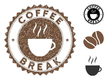 Coffee Break rubber round stamp. Vector stamp in chocolate color with coffee cup elements. Flat icons and retro texture are used for Coffee Break rubber imprints.