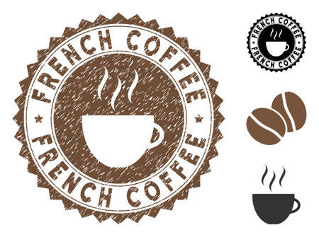 French Coffee rubber round seal. Vector seal in chocolate color with coffee cup elements. Flat icons and corroded texture are used for French Coffee rubber imprints.