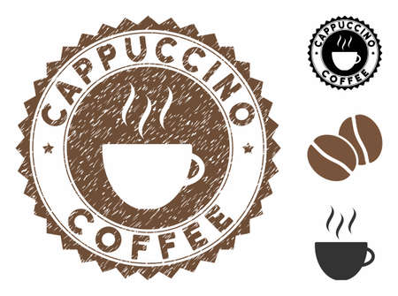 Cappuccino Coffee rubber round seal. Vector seal in chocolate color with coffee cup elements. Flat icons and unclean texture are used for Cappuccino Coffee watermarks. Çizim