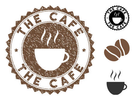 The Cafe rubber round stamp. Vector stamp in chocolate color with coffee cup elements. Flat icons and dust texture are used for The Cafe rubber imprints.