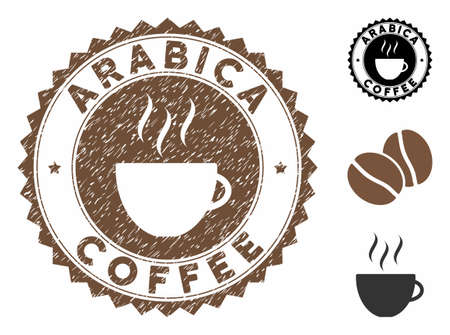 Arabica Coffee rubber round seal. Vector stamp in chocolate color with coffee cup elements. Flat icons and dust texture are used for Arabica Coffee rubber imprints.