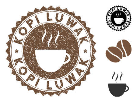 Kopi Luwak rubber round stamp. Vector stamp in chocolate color with coffee cup elements. Flat icons and dirty texture are used for Kopi Luwak rubber imprints.
