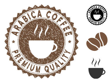 Arabica Coffee Premium Quality rubber round seal. Vector seal in chocolate color with coffee cup elements. Flat icons and scratched texture are used for Arabica Coffee Premium Quality rubber imprints.