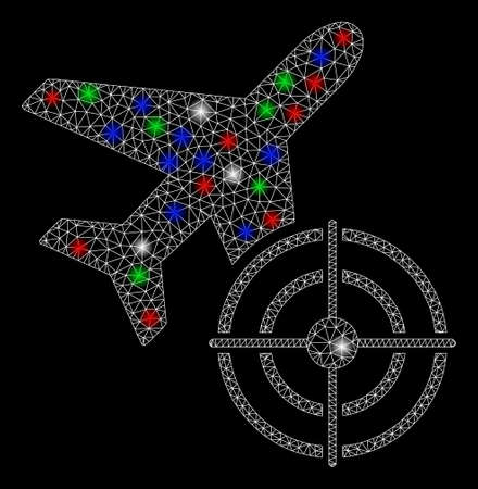Bright mesh aviation target with lightspot effect. White wire carcass polygonal mesh in vector format on a black background. Abstract 2d mesh built from polygonal grid, small circle,