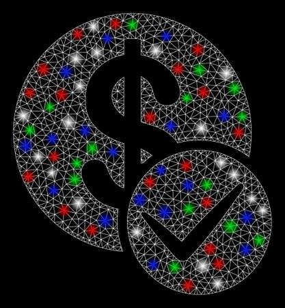 Bright mesh valid dollar coin with glare effect. White wire frame triangular mesh in vector format on a black background. Abstract 2d mesh designed with triangles, small circle, colorful flare spots.