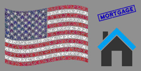 Home items are combined into United States flag abstraction with blue rectangle corroded stamp watermark of Mortgage phrase. Vector concept of America waving official flag is combined with home items. Ilustrace