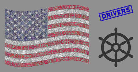 Boat steering wheel icons are combined into American flag stylization with blue rectangle distressed stamp seal of Drivers caption. Ilustrace