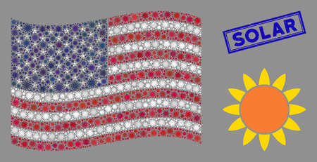 Sun items are organized into American flag mosaic with blue rectangle grunge stamp watermark of Solar text. Vector composition of American waving state flag is composed of sun items. Illusztráció
