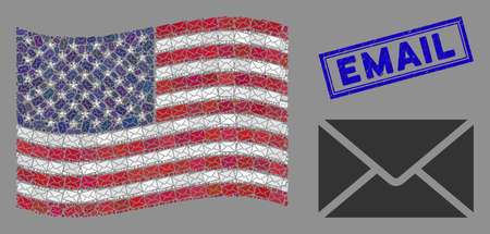 Mail envelope icons are arranged into American flag stylization with blue rectangle distressed stamp watermark of Email caption. Vector collage of American waving flag is done of mail envelope icons.
