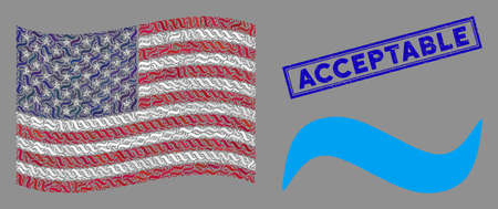 Water wave pictograms are organized into American flag collage with blue rectangle rubber stamp seal of Acceptable text. Vector composition of American waving flag is designed with water wave icons. Illustration