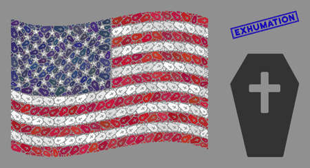 Coffin icons are organized into American flag stylization with blue rectangle distressed stamp seal of Exhumation phrase. Vector concept of American waving flag is composed with coffin icons. Ilustração