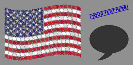 Balloon icons are arranged into American flag collage with blue rectangle corroded stamp seal of Your Text Here caption. Vector collage of American waving flag is created of balloon icons. Illustration