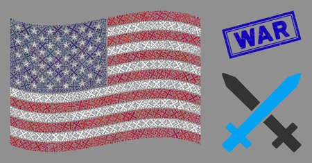 Crossing swords icons are arranged into United States flag collage with blue rectangle rubber stamp watermark of War caption.