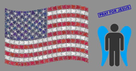 Angel items are combined into USA flag collage with blue rectangle distressed stamp seal of Pray for Jesus phrase. Vector collage of America waving official flag is composed with angel items. Ilustração