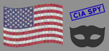 Privacy mask pictograms are combined into USA flag collage with blue rectangle rubber stamp watermark of CIA Spy text. Ilustração