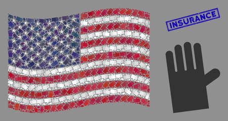 Rubber glove symbols are combined into United States flag mosaic with blue rectangle grunge stamp watermark of Insurance text.
