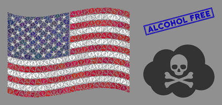 Toxic smoke pictograms are grouped into American flag stylization with blue rectangle rubber stamp seal of Alcohol Free text.