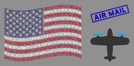 Aircraft symbols are grouped into USA flag collage with blue rectangle rubber stamp watermark of Air Mail caption. Vector collage of USA waving flag is designed from aircraft items.