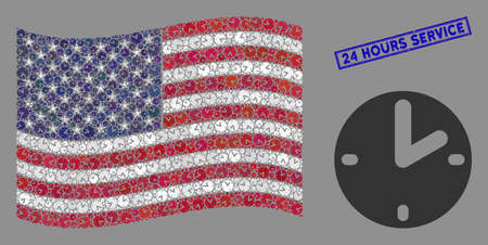 Clock icons are organized into American flag collage with blue rectangle distressed stamp seal of 24 Hours Service text. Vector composition of American waving flag is organized with clock items.