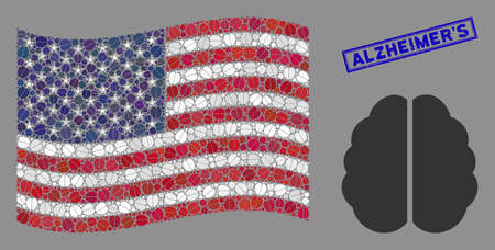 Brain pictograms are organized into American flag stylization with blue rectangle rubber stamp watermark of AlzheimerS caption.
