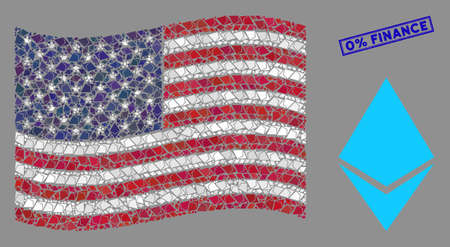 Ethereum crystal items are arranged into American flag abstraction with blue rectangle grunge stamp watermark of 0% Finance text.