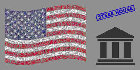 Library building pictograms are grouped into American flag collage with blue rectangle rubber stamp seal of Steak House caption.