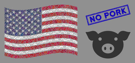 Pig head icons are grouped into American flag stylization with blue rectangle rubber stamp seal of No Pork text. Vector composition of America waving flag is created of pig head icons.