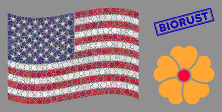 Flower icons are arranged into United States flag collage with blue rectangle corroded stamp watermark of Biorust text. Vector collage of America waving official flag is designed with flower items.