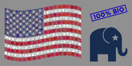 Elephant items are arranged into USA flag mosaic with blue rectangle distressed stamp watermark of 100% Bio text. Vector concept of USA waving state flag is done of elephant icons.