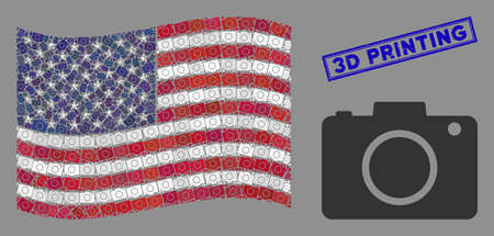 Photo camera icons are combined into United States flag stylization with blue rectangle corroded stamp seal of 3D Printing caption.