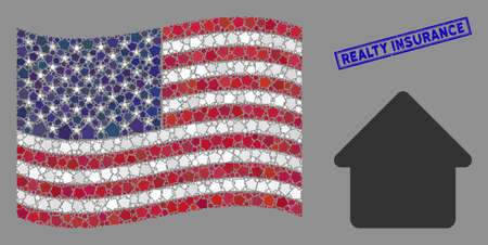 House icons are arranged into USA flag stylization with blue rectangle rubber stamp watermark of Realty Insurance caption. Vector concept of USA waving official flag is combined from house icons.