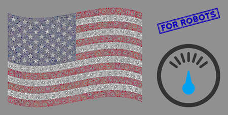 Gauge icons are arranged into USA flag collage with blue rectangle distressed stamp seal of For Robots text. Vector concept of USA waving flag is organized with gauge icons.
