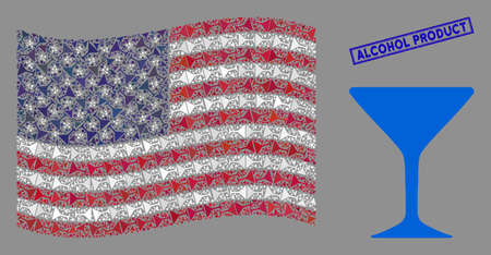 Alcohol glass icons are organized into United States flag collage with blue rectangle grunge stamp seal of Alcohol Product text.