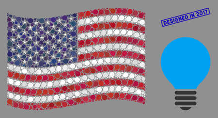 Electric bulb icons are organized into USA flag stylization with blue rectangle grunge stamp seal of Designed in 2017 phrase. Vector collage of USA waving flag is organized with electric bulb icons.