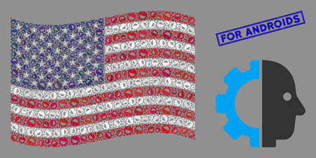 Cyborg head symbols are arranged into American flag collage with blue rectangle corroded stamp seal of For Androids phrase.