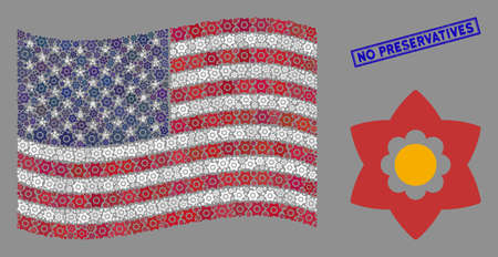 Flower symbols are grouped into American flag collage with blue rectangle rubber stamp seal of No Preservatives phrase. Vector collage of American waving flag is composed of flower icons. Stock Illustratie