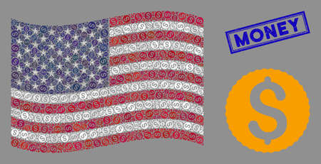 Dollar coin symbols are combined into USA flag abstraction with blue rectangle rubber stamp seal of Money caption. Vector composition of USA waving state flag is combined of dollar coin elements.