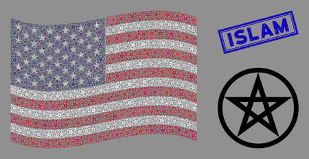 Star pentacle items are arranged into American flag abstraction with blue rectangle corroded stamp seal of Islam text. Vector concept of American waving flag is done of star pentacle items.