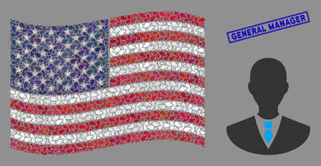 Manager icons are grouped into USA flag mosaic with blue rectangle rubber stamp watermark of General Manager caption. Vector composition of USA waving official flag is done of manager icons. Vectores