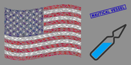 Ampoule pictograms are organized into USA flag mosaic with blue rectangle rubber stamp seal of Nautical Vessel phrase. Vector collage of USA waving flag is designed of ampoule elements.