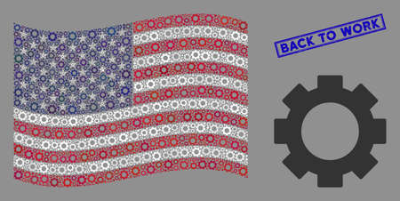 Gear items are combined into American flag collage with blue rectangle distressed stamp watermark of Back to Work text. Vector concept of USA waving state flag is designed of gear elements.