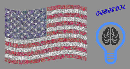 Brain bulb items are combined into American flag collage with blue rectangle grunge stamp seal of Designed by Ai phrase. Vector collage of American waving official flag is formed of brain bulb items.
