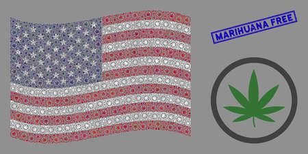 Cannabis symbols are arranged into United States flag collage with blue rectangle rubber stamp seal of Marihuana Free text. Vector collage of American waving state flag is done of cannabis elements.