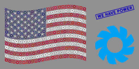 Turbine items are arranged into USA flag collage with blue rectangle corroded stamp seal of We Have Power caption. Vector collage of USA waving official flag is combined with turbine elements.