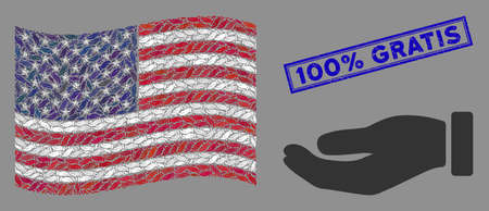 Hand symbols are grouped into American flag mosaic with blue rectangle grunge stamp watermark of 100% Gratis text. Vector collage of American waving official flag is made of hand icons. 向量圖像